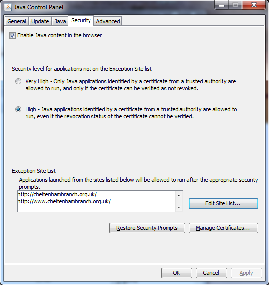 Suggested Java Security Settings